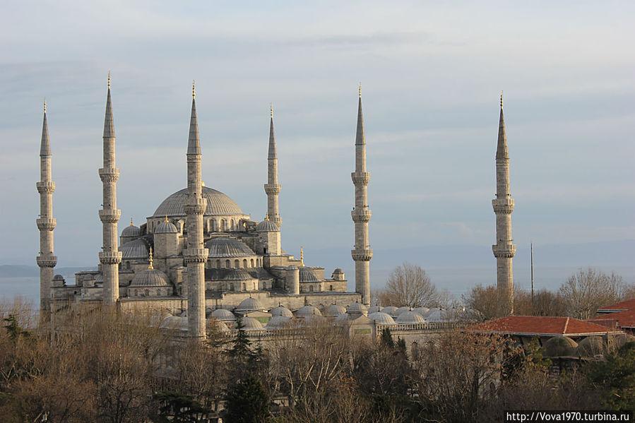 Вид с террасы крыши на Голубую мечеть.