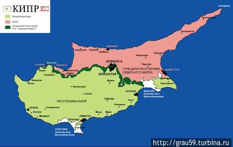 Белым выделены участки заморской территории Декелия и Акротири