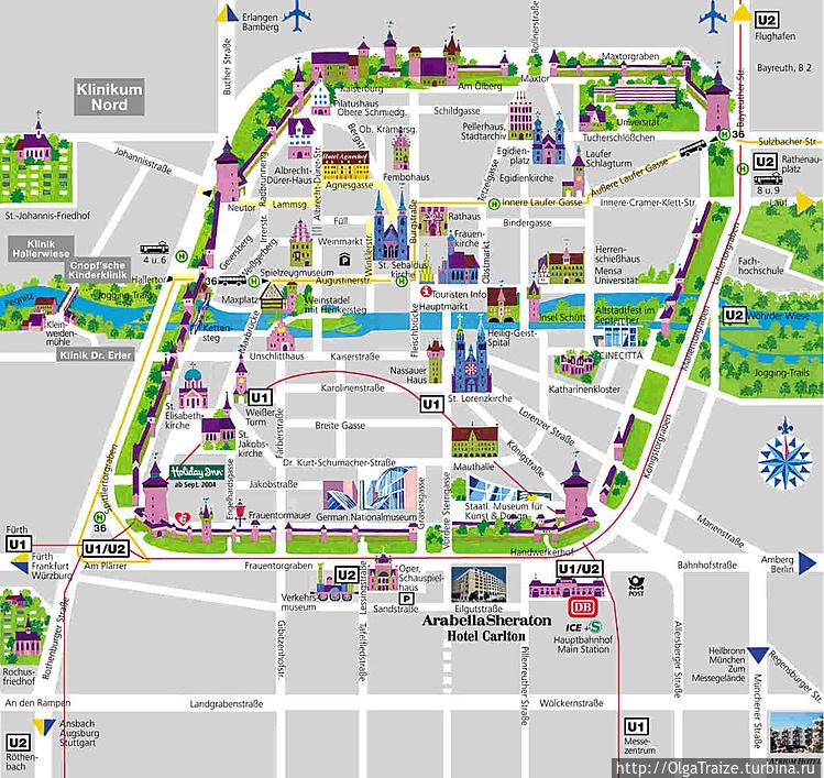 План-карта Нюрнберга