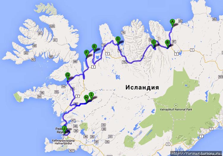 Карта маршрута 8-10 дней