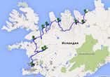Карта маршрута 8-10 дней путешествия: А — Хусавик; В — водопад Годафосс; С — город Акюрейри; D — городок Сёйдауркроукюр; E — Динозавр; F — Тюлени; G — городок Dalabyggð; H — Водопады Хрёйнфоссар и Барнафоссар; I — горячий источник Дейлдартунгухвер; J — Рейкъявик