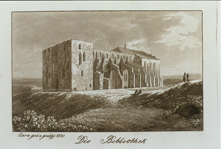 Библиотека Дерптского университета, построенная на руинах Домского собора. Гравюра 1821 года. Википедия