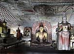 В пещерных храмах Дамбуллы находится самая большая на острове коллекция скульптур Будды (более 150 статуй),  многим из которых уже более 2-х тысяч лет. Когда половина из них в 12 веке была покрыта золотом, буддистская святыня Дамбуллы стала называться Золотым пещерным храмом.