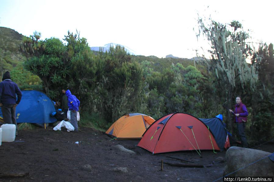 наши 2 палатки и палатка гида (синяя)