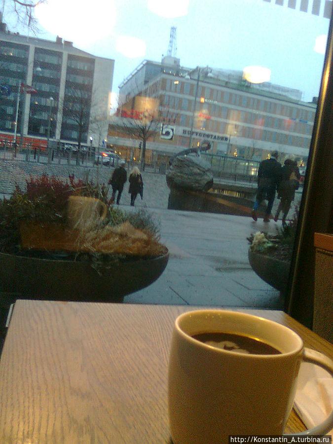 вид из окна кафе Старбакс