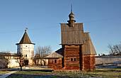 Каменные башни  и деревянная церковь