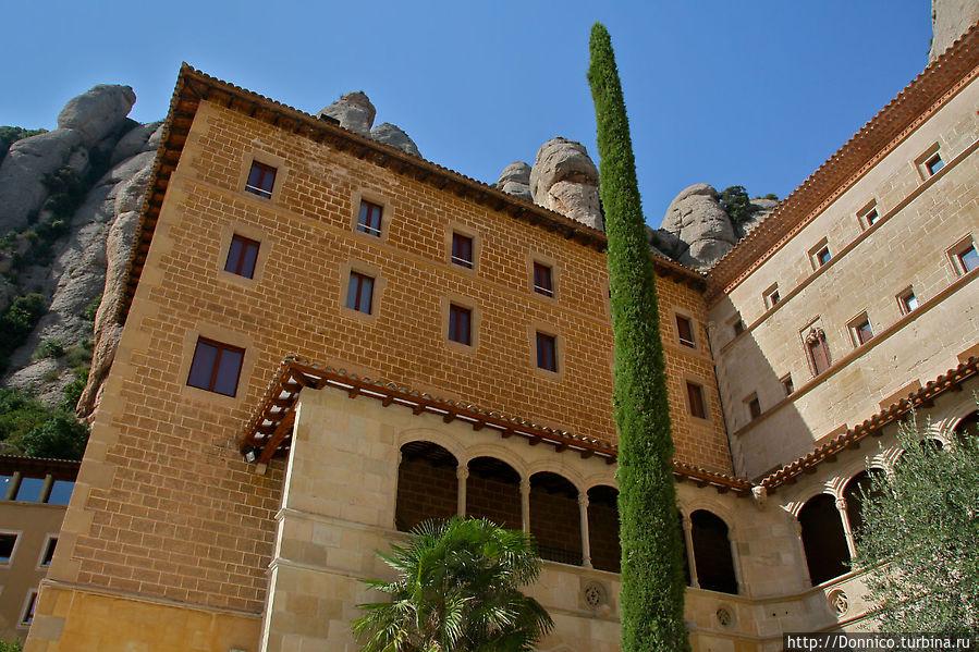 здание корпуса монастыря — но каков кипарис! Монастырь Монтсеррат, Испания