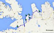 Карта 9-го дня путешествия вокруг Исландии. А — городок Саударкроукюр; В — скальное образование-крепость Боргавирки; С — Каменное образование Квийтсеркюр (Динозавр); D — тюлени; Е — музей тюленей в городке Квамстанги; F — городок Далбраут