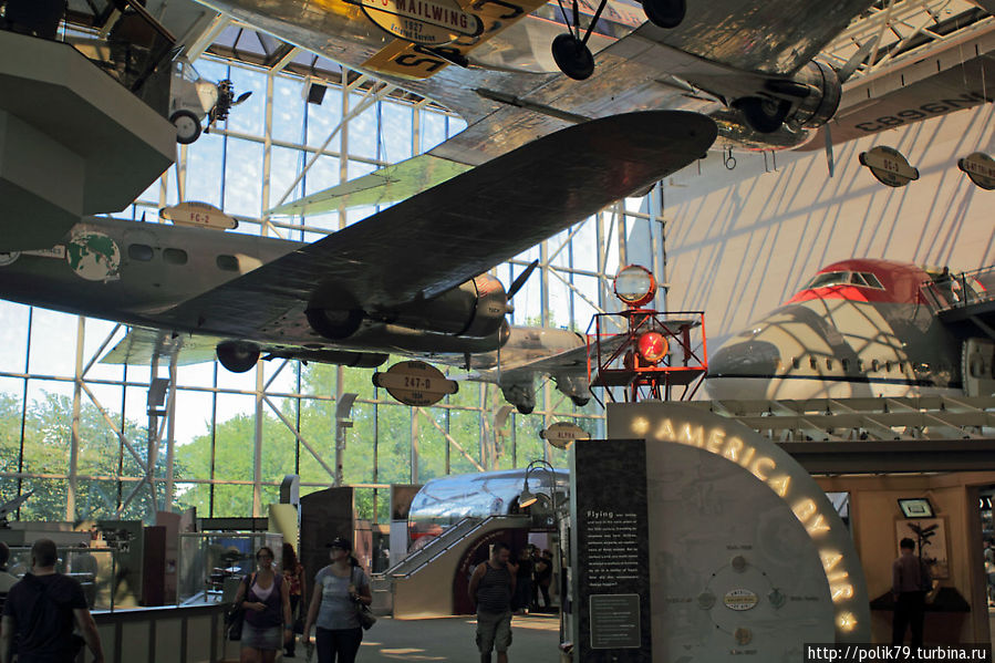 Зал истории пассажирской авиации США.