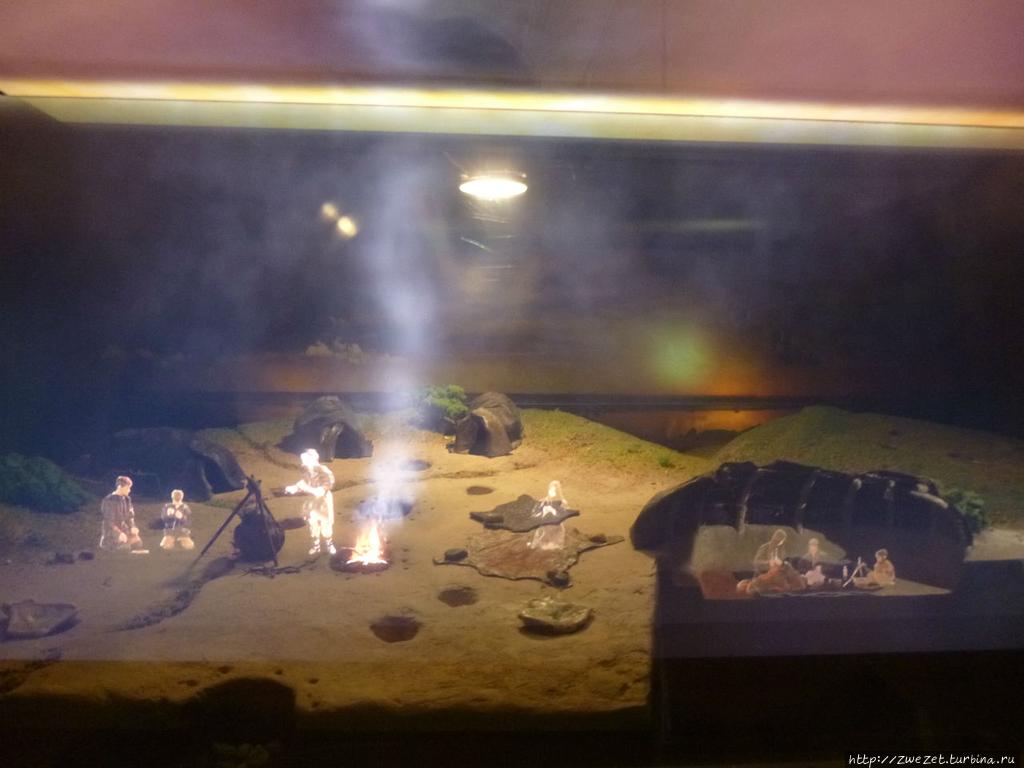 За стеклом представлен быт древних людей, проживавших на территории Зарайска около 20000 лет назад.