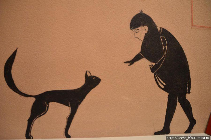 Человек и кошка..