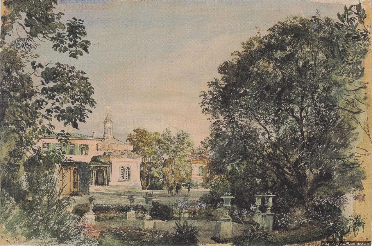 Церковь в конце строительства. Акварель Рудольфа фон Альта (Фото из Интернета)
