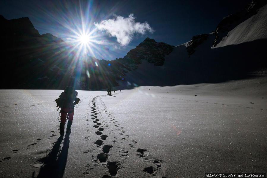 весовой контроль на леднике Арбуз. Белуха гора (4509м) Природный Парк, Россия
