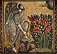 Мозаика на территории мужского монастыря Святой Екатерины, рядом с Колодцем Моисея. Неопалимая купина — куст, в пламени которого, согласно Ветхому завету, Бог впервые явился пророку Моисею.