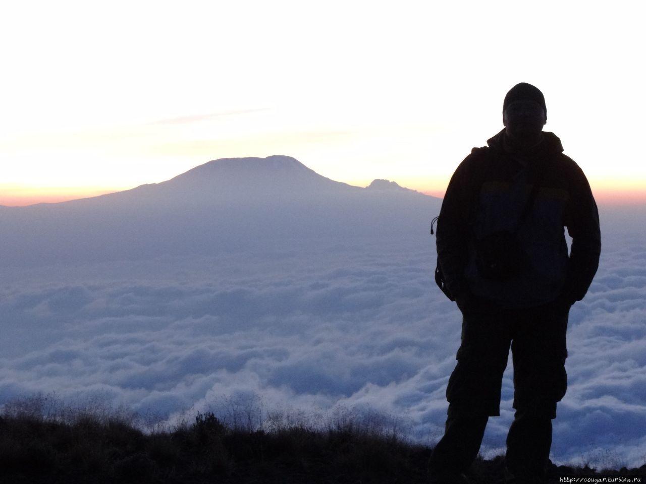 С Килиманджаро на задем плане. Облачный покров движется справа налево. Моши, Танзания
