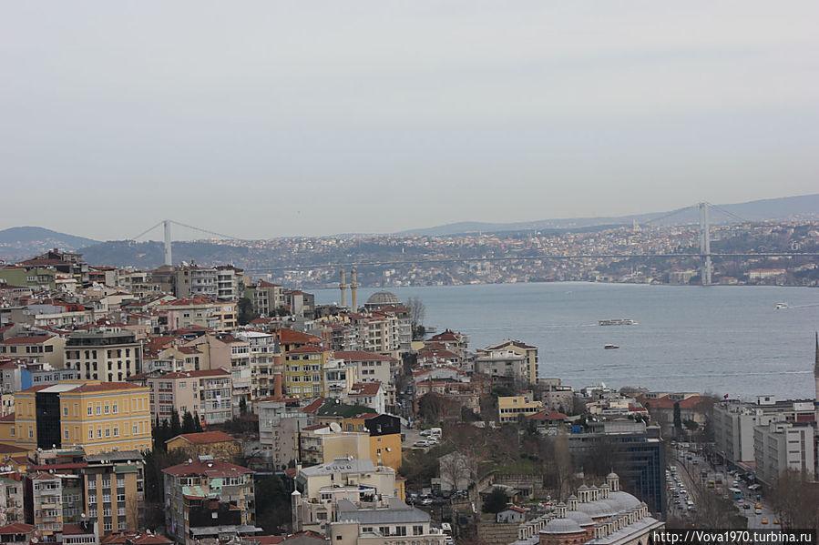 Вид на Босфор и Босфорский мост.