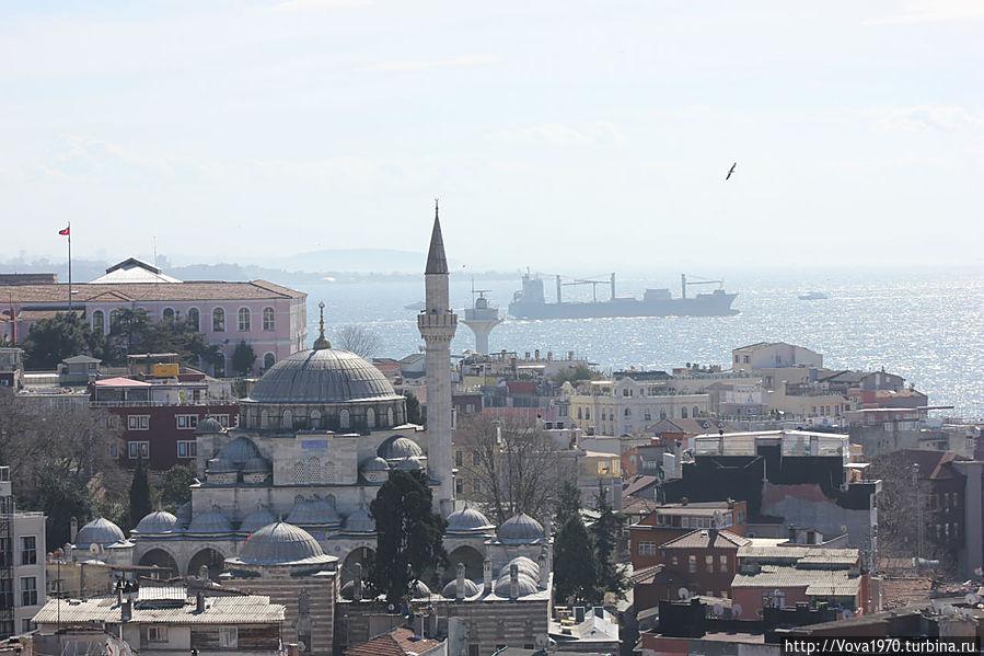 Мечеть Соколлу Мехмет Паша и Мраморное море днём.