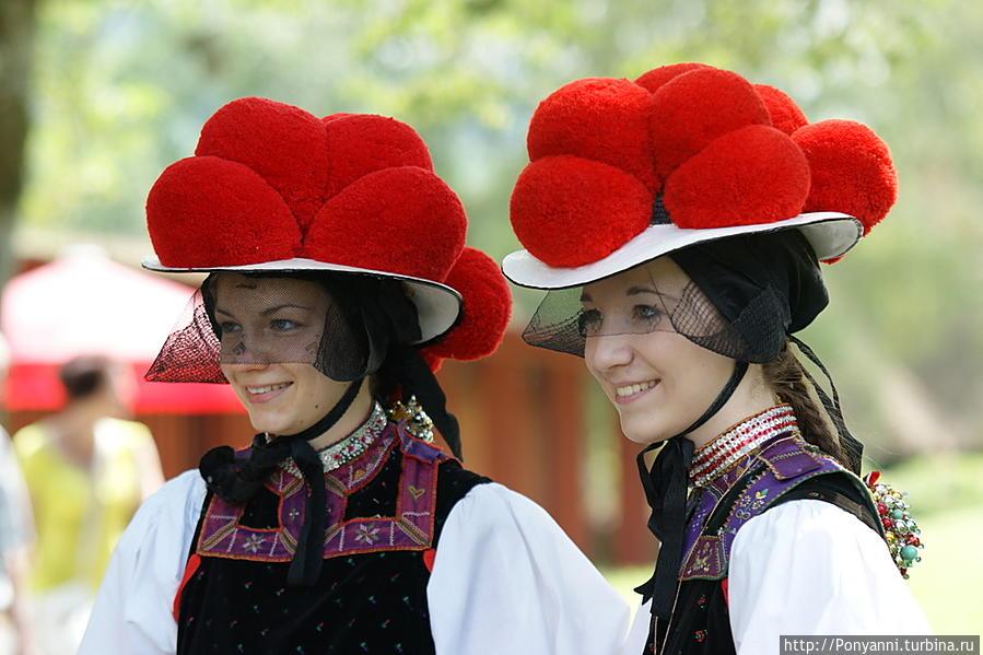 Визитная карточка Шварцвальда — национальный наряд с боленхут — шляпа с попмпонами.У незамужних девушек помпоны красного цвета,у замужних женщин — черного. В старые времена шляпа и помпоны были из шерсти и весили до двух килограмм. Шварцвальд, Германия