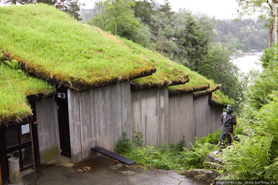 13. Открою наконец секрет: это не сарай, а концертный зал. Он был построен в 1985 году. Здесь проходит около 300 концертов классической музыки в год. Норвежцы любят всё натуральное, в том числе деревянное, дерево у них — это очень уважаемый и вдобавок экологичный материал. А дома под травяными крышами в Норвегии встречаются сплошь и рядом. Это тоже экологично. Возле стены концертного зала идёт тропинка, по которой можно пройти вниз к морю.