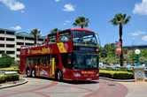 Красный автобус у казино Голд Риф