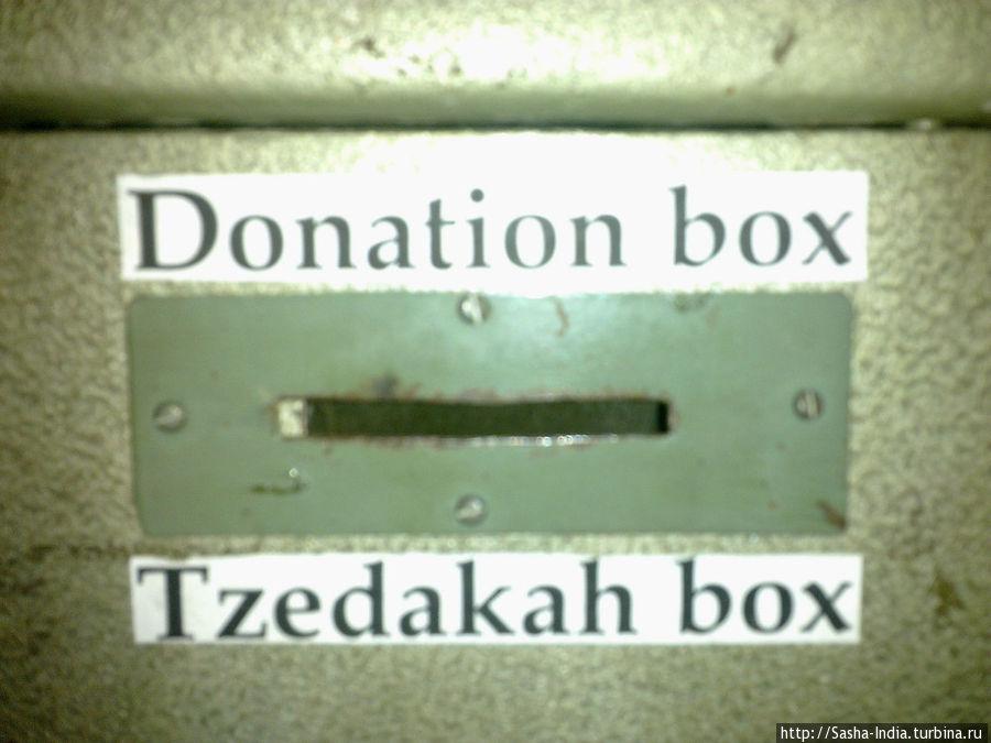 Ящик для пожертвований в синагоге