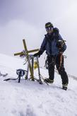 горный гид Андрей Алмазов на вершине Хан-Тенгри