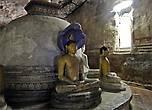 Над двумя из скульптур возвышается  голова змеиного короля Мучалинды, предоставившего кров Будде после его прозрения.