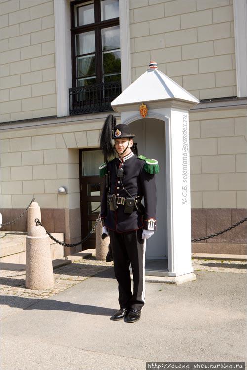 31. Часовой стоит и у служебного входа, который находится в левом боковом фасаде. Этот часовой был так же демократичен, как и сам король. Он не имел ничего против, чтобы с ним фотографировались, что я и наблюдала — двое парней встали с ним рядом, а третий их снял. Когда я в свою очередь стала этого часового фотографировать, он приветливо мне улыбнулся. Вот ведь какая удивительная страна Норвегия!