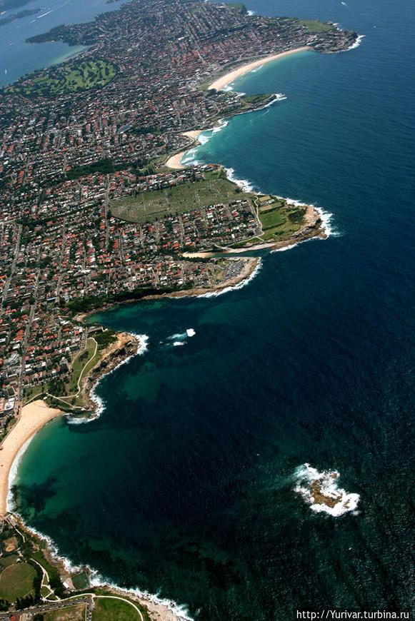 Снизу вверх — Вид на пляжи Куджи, Тамарита и Бонди. Справа внизу — остров Свадебный торт (Wedding Cake). Из Интернета. Сидней, Австралия