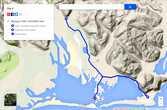 Схема достопримечательностей около городка Хефн. А — Хефн, В — мыс Стокснес, С — горячие ванны под ледником Ватнайокюль
