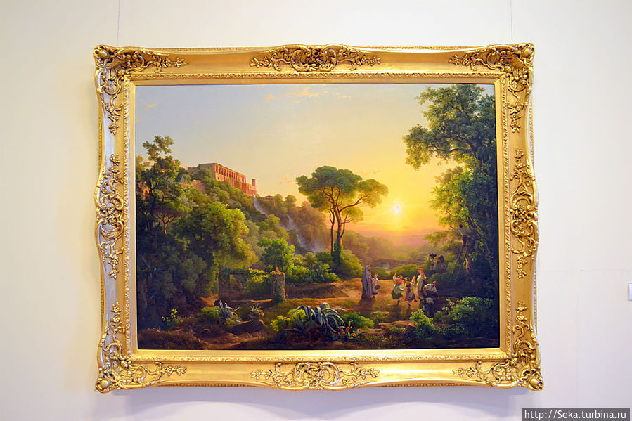 Марко Карой. Пейзаж в Тиволи с сценой сбора урожая винограда, 1846
