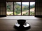 В храмах с садами в стоимость входного билета часто входит чай маття. Эта такая горькая штука, которую надо закусывать сладкой конфетой (прилагается). Я его безумно люблю. Полагается, значит, пить этот чай и смотреть на сад — в данном случае из окна, потому что на улице адский холод и ветер.