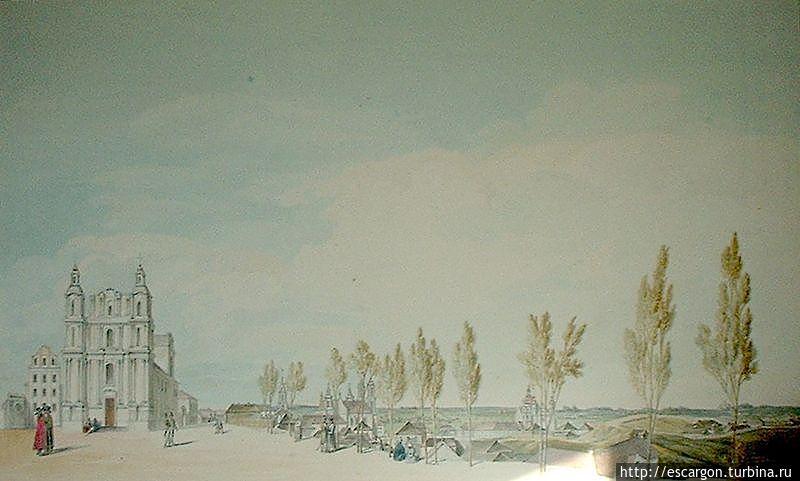 Успенская церковь (собор). Вид на город и Замковую гору с Успенской горы.  Рисунок Юзефа Пешки. Начало XIX века.