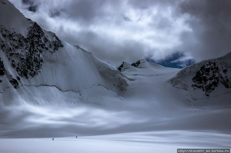 ледник Менсу, вид на ББС- Большое Берельское Седло Белуха гора (4509м) Природный Парк, Россия