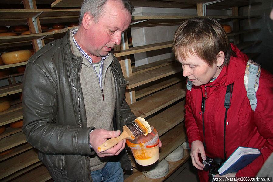 Владелец сыроварни проводит экскурсию. Съедобный состав для покрытия головок сыра.
