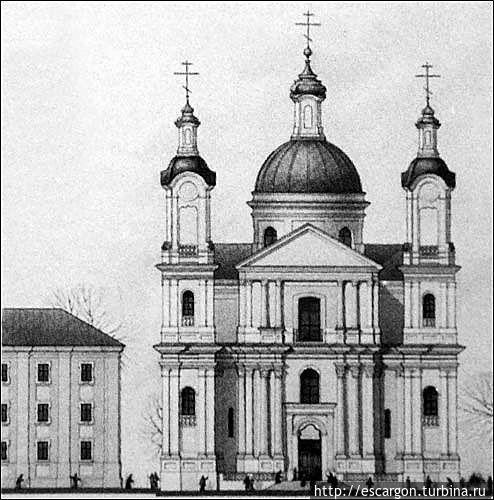 Проект реконструкции Успенского собора арх. И. Ротько. Главный фасад. (Изображение с сайта http://www.radzima.org)