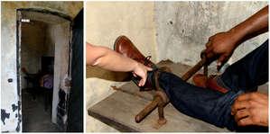 В одиночных камерах можно было попробовать заковать себя в тяжелые кандалы.  Ощущения не самые приятные.