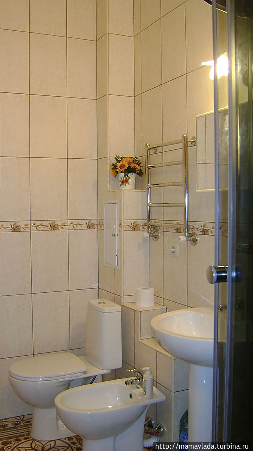 Есть туалет, биде, умывальник с зеркалом.