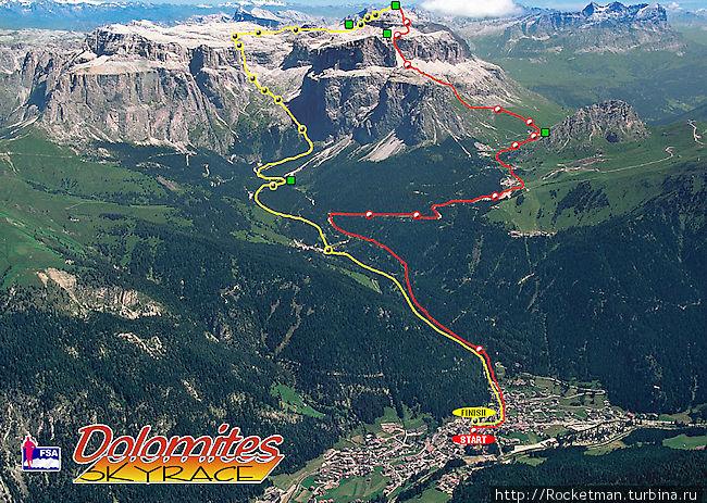 (Схема трассы — 10 км — подъем