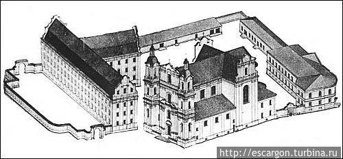 Реконструкция Успенского базилианского монастыря по состоянию на 1803 год арх. И. Ротько и А. Михайлюкова.  (Изображение с сайта http://www.radzima.org)