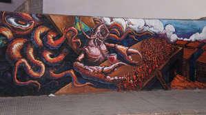 Вот такое граффити обнаружили на одной из улиц города.