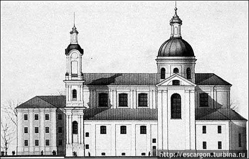 Проект реконструкции Успенского собора арх. И. Ротько. Боковой фасад. (Изображение с сайта http://www.radzima.org)