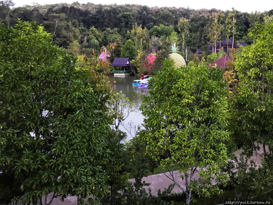 Вид на фруктовые бунгало и озеро