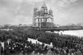 Построение 138 — го запасного пехотного полка на соборной площади, февраль 1917 года. Начало революции в Николаевске