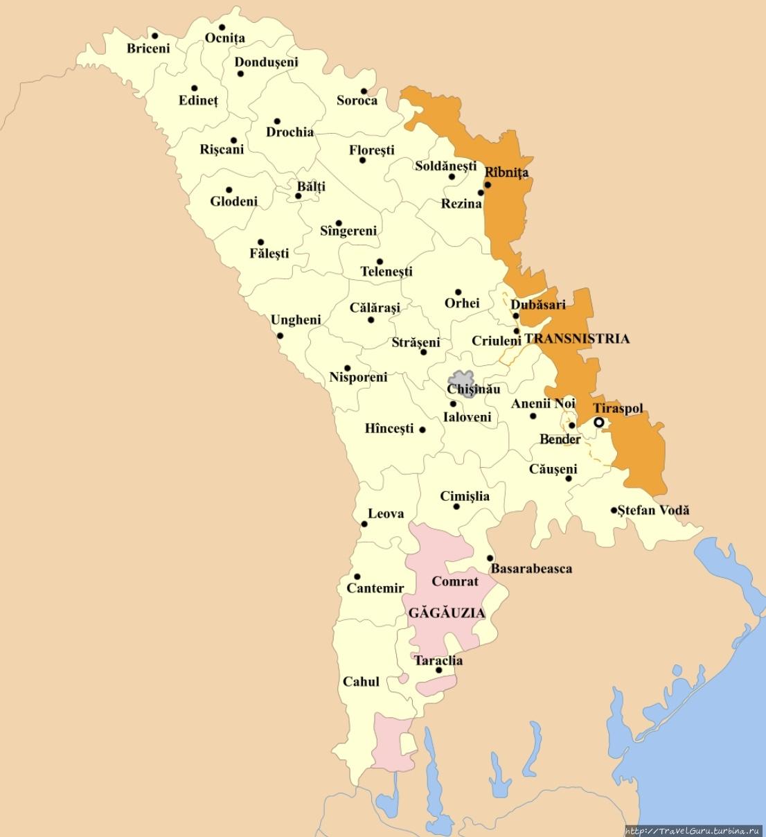 Розовым на карте Молдовы